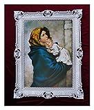 Wunderschönes Repro Barock Antik Look gerahmtes Gemälde mit Ornamentverziehrungen in den Rahmen montiert Motiv Jesus Maria Ikonen Bild Repro 90x70cm (Silber)