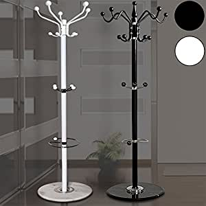 Hat Coat Stand Black with 15 Hooks Clothes Rack With Marble Base and Umbrella Rack