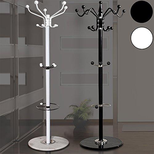 Garderobenständer ✔standfester Marmorfuß ✔14 Kleiderhaken ✔3 Ablagen mit Schirmständer ✔Farbe Weiß - Modell Standard - Kleiderständer Mantelständer Garderobe
