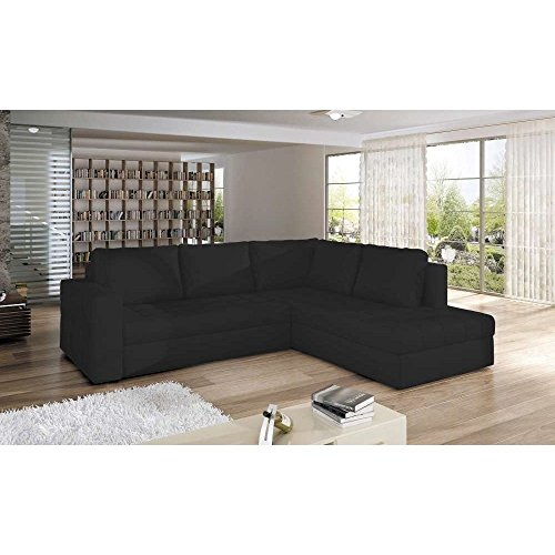 JUSThome CAMINO Sofá esquinero chaise longue función de cama Sofá-cama con cajonesPiel sintética (BxLxH): 220x265x90 cm Negro Brazo derecho