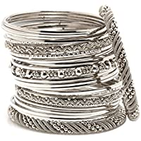 Bindhani Traditional Wedding Tribal Oxidized Silver Plated Bangle Set For Women (2.4)