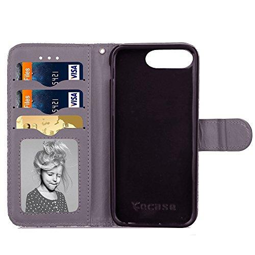 Wkae Case Cover Étui en cuir synthétique PU cas de motif en relief Fleur Lucky Clover Avec Dragonne Folio Stand Case Wallet Fonction Pour IPhone 7 Plus ( Color : Gray , Size : IPhone 7 Plus ) Gray
