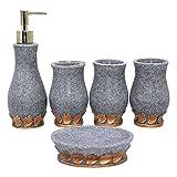 YOUR GALLERY Einfaches Design Bad-Accessories-Set 5-teilig Wasserglas Zahnbürstenhalter Seifenschale Lotion-Flaschen