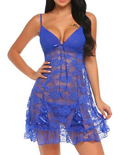 Meaneor_Fashion_Origin Damen Sexy Negligee Nachtwäsche Nachthemd Spitze Lingerie Nachtkleid Babydoll Dessous Reizwäsche Sleepwear Kleid mit...