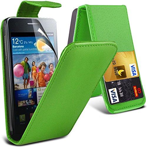 Lcd-samsung S2 Galaxy (( Green ) Samsung Galaxy S2 i9100 Premium Faux Kredit / Debit-Karten-Slot Leder Flip Case Hülle & LCD-Display Schutzfolie by Fone-Case)