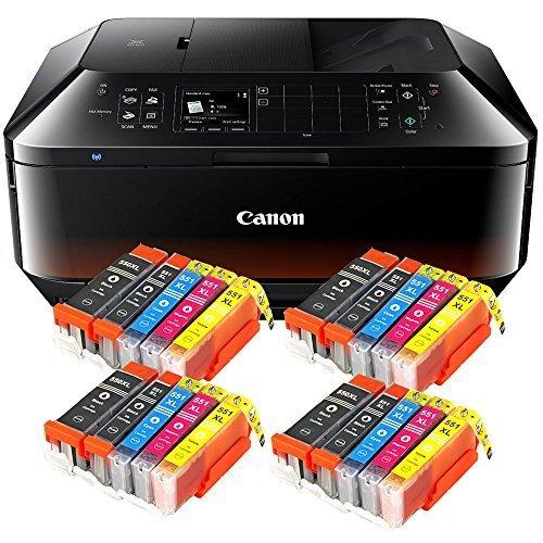 Canon Pixma MX725 MX-725 All-in-One Farbtintenstrahl-Multifunktionsgerät (Drucker, Scanner, Kopierer, Fax, USB, WLAN, LAN, Apple AirPrint) Schwarz + 20er Set IC-Office XL Tintenpatronen 550XL 551XL (Originalpatronen nicht im Lieferumfang)