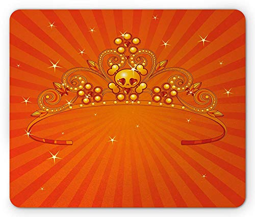Pad, Fancy Halloween Princess Crown with Little Skull Daisies on Radial Orange Backdrop Stars, Standard Size Rectangle Non-Slip Rubber Mousepad, Orange ()