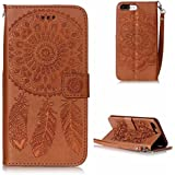 KKEIKO® iPhone 7 Plus Case [Free Tempered Glass Screen Protector], Flip Leather Wallet Case for Apple iPhone 7 Plus, Vintage Embossing Flower iPhone 7 Plus Cover Case with Card Slots, Magnetic Closure and Strap (Brown)