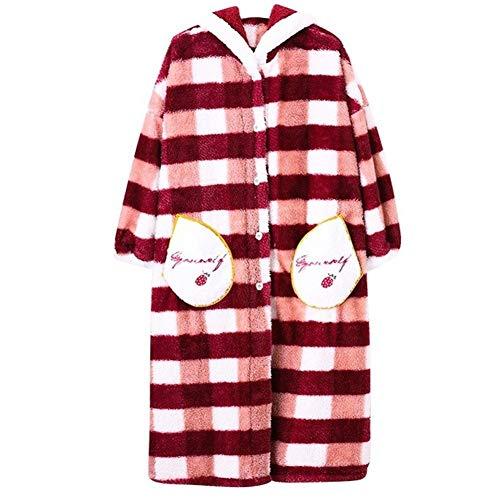 Mit Kapuze Bademäntel, High-End-lose Karierten Bademantel Korallen Samt - weich und bequem Pyjamas - Hotel die perfekte Dusche Geschenk (Color : Red, Size : M)