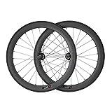 VCYCLE 700C Carbon Rennrad Laufradsatz 60mm Drahtreifen Scheibenbremse Breite 23mm kann Achsdurchführung Passen UD Matt (VORDERSEITE12*100mmRückseite12*142mm)