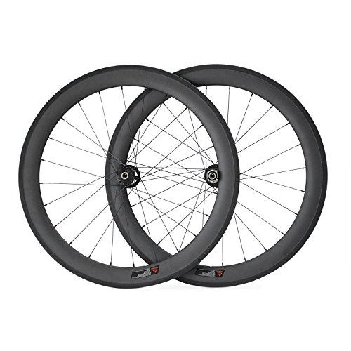 VCYCLE 700C Carbonio Set Ruote Bici da Strada 60mm Forcella a Disco Copertoncino 28 Fori a Raggi Utilizzato per ASSE-Through UD Matte (Frontale 12x100mm Posteriore 12x142mm Thru Axle)