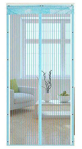 Icegrey Fliegen Gitter Türvorhang Magnetic Moskito Netz,12 Größe verfügbar Passend Türen bis zu 120cm X 210cm MAX Blau