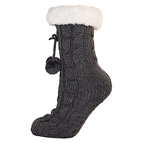 RJM Ladies Cable Knit Slipper Calcetines con interior de forro polar cálido antideslizante en plata Gris gris Talla única