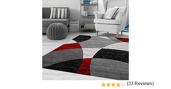 60x110 cm Rouge Eco Tex Certifi/é VIMODA Tapis Rouge Salon Chambre /à Coucher G/éom/étrique Motif /à Cercles Mouchet/é en Gris Blanc Noir et Rouge