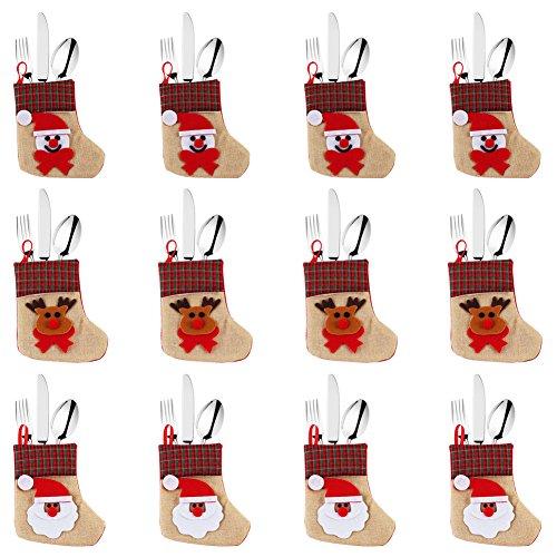 OurWarm bolsa para vajilla de Navidad juego de cubiertos cubiertos titulares bolsillos cuchillos tenedores bolsa de Navidad decoraciones de mesa Home restaurante comedor