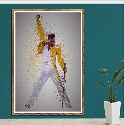 haoxinbaihuo Die Größten Sterne Musiklegenden Jimi Hendrix Freddie Mercury Amy Winehouse Kunst Malerei Seide Leinwand Poster Wand Wohnkultur 40 * 60 cm Kein Rahmen -
