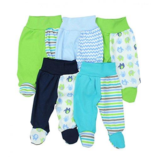 TupTam Baby Hose mit Fuß Jungen Strampelhose Babyhose Strampler Mädchen Stramplerhose im 5er Pack, Farbe: Junge, Größe: 56