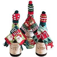 Gwill - Cubierta para botella de vino de Navidad, para envolver regalos, bufandas de punto y sombrero para decoración de mesa de cocina, 3 patrones diferentes, 3 piezas