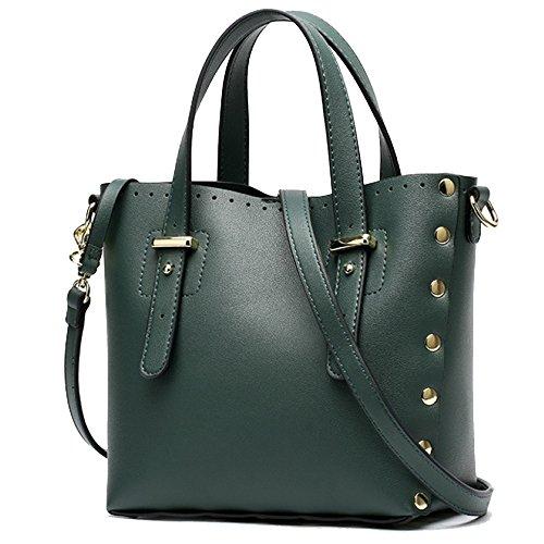Frau Reine Farbe Umhängetasche Niet Retro Schultertasche Große Kapazität Pu Handtasche Set Lady Bags Shopping Reise,Green-20 * 10 * 20CM
