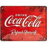 Nostalgic-Art Cartel de Chapa Retro Coca-Cola – Logo Red – Idea de Regalo Aficionados a la Coke, metálico, Diseño Vintage par