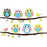SOLEDI Wall Art Sticker Six Owls & Branch Wall Decal for Living Room Bedroom Kitchen