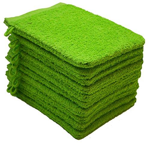 NatureMark NM-HT0831 Frottier Waschhandschuhe, 10-er Pack, 15 x 21 cm, 100% Baumwolle, Apfel grün - Grüne Waschlappen