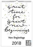 artboxONE Kalender 2018 New Beginnings Wandkalender A3 Typografie