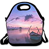 FutongHuaxia Boat In Sunrise Casual Outdoor Lunch Bag Lunch Box Thermal Insulated Tote Cooler Lunch Pouch Picnic Bag Lunch Tote