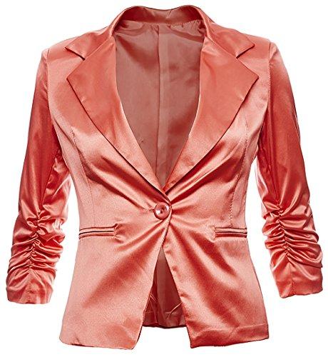 Eleganter Damenblazer Blazer Baumwolle Jäckchen Business Freizeit Party Jacke in 26 Farben 34 36 38 40 42, Farbe:Coral Metallic;Größe:XL-42 - Gucci Coral