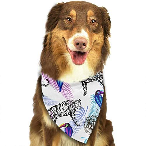 Hipiyoled Tukane Palm Blätter Tiger Muster Mode Hund Bandana Kragen Waschbar Reversiable Einstellbare Dreieck Lätzchen