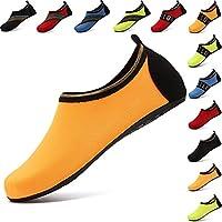 NeuFashion VIFUUR Water Sports Shoes Barefoot Quick-Dry Aqua Yoga Socks Slip-On For Men Women Kids (S, All Orange)