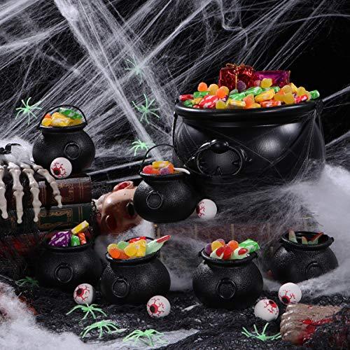 BESTonZON 7 Stück Plastikkessel und 6 Stück Augäpfel, Candy Kessel, Mehrzweck-Neuheit Candy Holder Pot mit Griff für Halloween, St. Patrick's Day Party Favors - 4