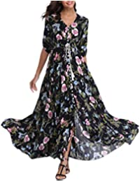 dee3fd3a10880 VOGMATE Femme Longue Maxi Robe v - Cou Demi-Manches Floral Robe Bouton vers  Le