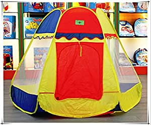 Pigloo Hexagonal Dome Pop Up Play Tent House For Kids Ages 3+ Years, 160X160X112Cm, 1 Piece - Random Color