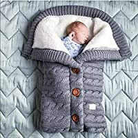 Newborn Baby Swaddle Blanket, Thick Baby Kids Toddler Knit Soft Warm Fleece Blanket Swaddle Sleeping Bag Sleep Sack Stroller Unisex Wrap for Boys Girls (Grey)