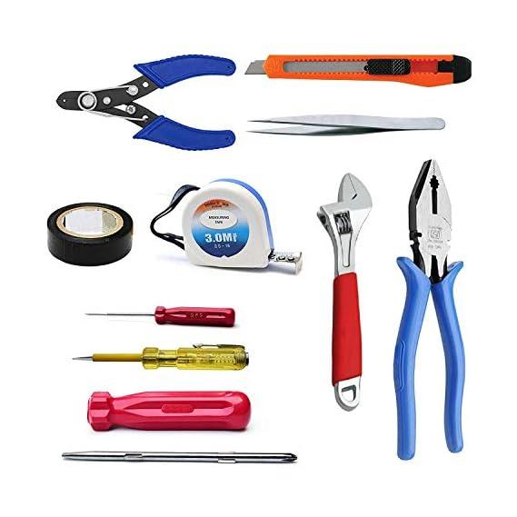 Inditrust Beginner 10 in 1 Home Tool Kit Set (Plier, Screwdriver Set, Adjustable Wrench, Measuring Tape, Line Tester, Wire Stripper)