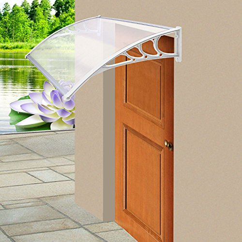 Parkland Door Canopy Awning Shelter Front Back Porch Outdoor Shade Patio Roof (White) Test