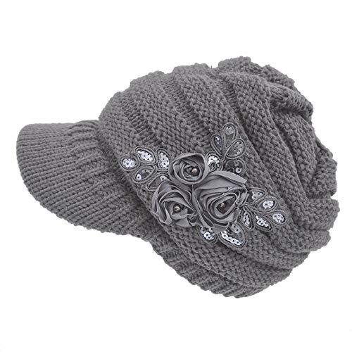 heekpek Europa und die Vereinigten Staaten Herbst und Winter Explosionen Gestrickte Hüte Gezeiten Winter Warme Ohrenschützer Damen Wollmütze Kappe (Grau) -
