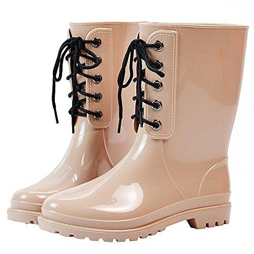 rismart Donna Classico Versione Mezzo Vitello Semplice Impermeabile Stivali da Pioggia Mandorla