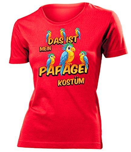 Papagei Kostüm Kleidung 1935 Damen T-Shirt Frauen Karneval Fasching Faschingskostüm Karnevalskostüm Paarkostüm Gruppenkostüm Rot L
