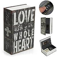 SAFETYON Caja Fuerte Libro Diseño Libro Diccionario Secreta Pequeña con Key Lock Multicolor Contraseña de Combinación de 3 Dígitos LOVE