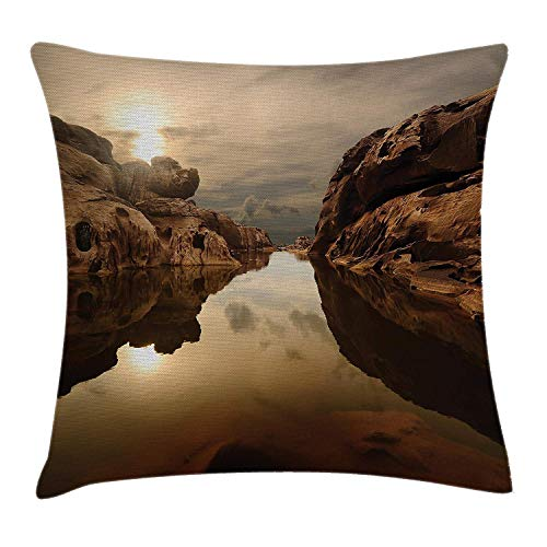 VVIANS Nature Throw Pillow Cushion Cover, Sunrise Over Secluded Rocks in Calm Lake Beaming Sun Reflections on Water Cloudy Sky, Decorative Square Accent Pillow Case, 18 X 18 Inches, Multicolor