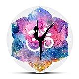GWEFFX Reloj de Pared Acuarela hindú Om Símbolo Reloj de Pared Moderno Chica de Yoga Om...