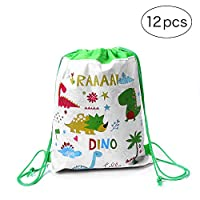 """LOKIPA 12 Pack Dinosaur Drawstring Party Bags Dinosaur Goody Gift Pouch Bags for Kids Boys Girls Dinosaur Party Favors 13.4""""*10.6"""""""