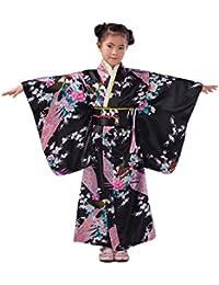 YL Niñas Patrón de Pavo Real & Flores Quimono Estampado Kimono Japonés Negro