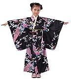 Yue Lian Mädchen Blumen&Pfau Kimono mit Obi-Gürtel Cosplay Yukata Japanisch (Höhe:130-140cm, Schwarz)