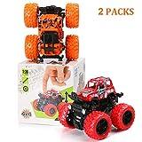 BBLIKE Geländewagen Auto Spielzeug Set, 2PCS Off Road Trägheits-Geländewagen mit Allradantrieb Steht auf und dreht Sich, ab 3/4/5/6 Jahren(Rot, Orange)