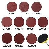 Schleifpapier 5cm/2' schleifscheiben 100-2000 Grits mit 1 x 0,6 cm Schaftstütze, 1 x Weichschaum-Pad für Bohrschleifer,60 PCS