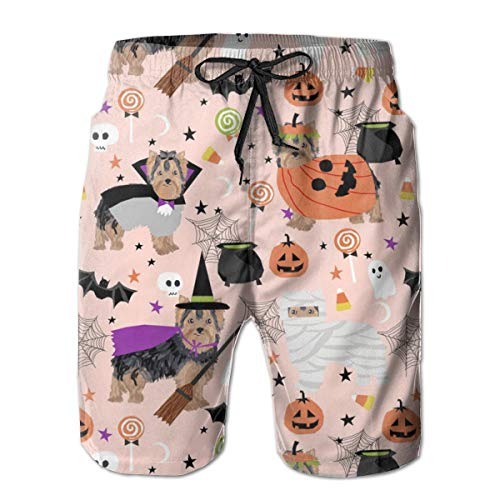 IconSymbol Men's Quick Dry Swim Trunks Yorkshire Terrier Yorkie Halloween Costumes Cute Dog Fall Autumn Pink Colorful Beach Shorts with Mesh Lining