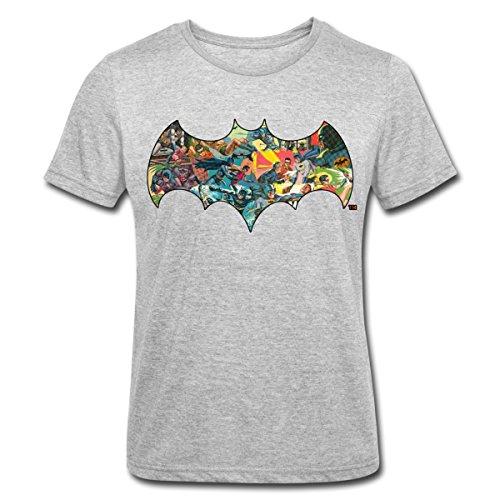 s Batman Robin Bat Symbol Kampfszenen Männer Polycotton T-Shirt, M, Grau meliert (Super Helden Robin)